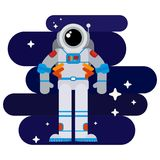 Flat astronaut in space among the stars Stock Images