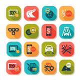 Flat auto icons set Stock Photos