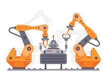 Flat auto robots factory. Electronic assembly of bot or robot vector illustration. Flat auto robots factory. Electronic assembly of bot or machine operator arm royalty free illustration