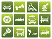 Flat auto service and transportation icons Royalty Free Stock Photo