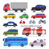 Flat auto transport. City road car, bicycle and motorcycle. Ambulance car, fire engine and town transporter bus isolated stock illustration