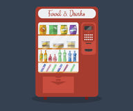 Flat automatic machine with food and drink Stock Photography