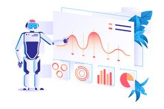 Flat automation robot for data analysis with graphs. vector illustration