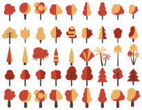 Flat autumn trees.  on white background. Vector. Flat autumn trees.  on white background. Vector icons Royalty Free Stock Image