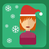 Flat avatar. Character in a Christmas cap Stock Photos