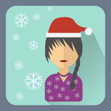 Flat avatar. Character in a Christmas cap Royalty Free Stock Image