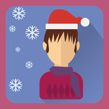 Flat avatar. Character in a Christmas cap Stock Photography