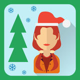 Flat avatar. Character in a Christmas cap Stock Image