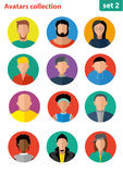 Flat avatar collection, set of 12 people icons in flat style with faces, avatars group of people. Avatars flat. User avatars royalty free illustration
