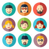 Flat avatar icons, faces, people icons Royalty Free Stock Image