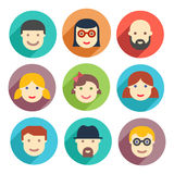 Flat avatar icons, faces, people icons Stock Image