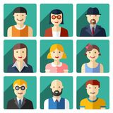 Flat avatar icons, faces, people icons Stock Photo