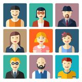 Flat avatar icons, faces, people icons Stock Photos