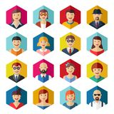 Flat avatar icons faces people symbols signs Royalty Free Stock Image