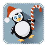 Flat avatar with penguin in Santa Claus hat and bonbon. Flat avatar or icon with penguin in Santa Claus hat and candy bonbon for design Stock Photos