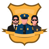 Flat avatar of police team Stock Photos