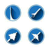 Flat aviation. Icon Set . Vector images are isolated on a white background Royalty Free Stock Photo