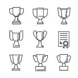 Flat award icons. Vector black flat award icons on white Stock Photography