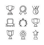 Flat award icons. Vector black flat award icons on white Royalty Free Stock Photos