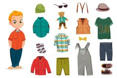 Flat Baby Boy Fashion Icon Set. With little child and his clothes for different seasons vector illustration royalty free illustration