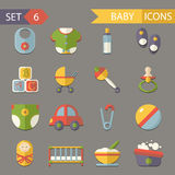 Flat baby and childhood icons symbols set vector. Flat baby and childhood icons and symbols set Stock Photo