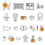 Flat baby icons collection Royalty Free Stock Photo