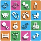 Flat Baby Icons with Shadow Royalty Free Stock Image