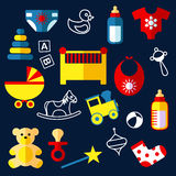 Flat baby toys and objects Royalty Free Stock Image