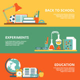 Flat back to school experiments education website. Flat set of back to school, science experiments, education website hero images vector illustration Royalty Free Stock Image