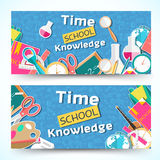 Flat back to school horizontal banners concept. Vector illustration design Royalty Free Stock Image