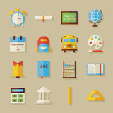 Flat Back to School Objects Set with Shadow Royalty Free Stock Photography