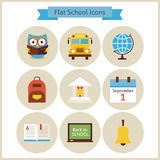 Flat Back to School and Science Icons Set Stock Image