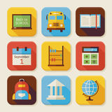 Flat Back to School Squared App Icons Set Stock Images