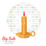 Flat background with candle flashed discount Stock Photo