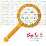 Flat background with magnifier enlarges discounts Royalty Free Stock Photos