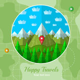 Flat background with mountains and forest Stock Images