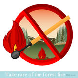 Flat background no fire in forest in red round frame Royalty Free Stock Images