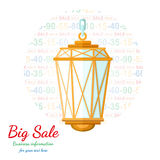 Flat background with old lamp flashed discount Stock Image