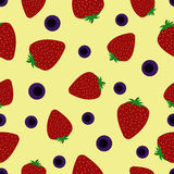 Flat background with strawberry and blueberry.Seamless pattern. Vector illustration Stock Photography