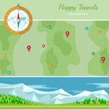 Flat background vector map with mountains landscape Stock Photo