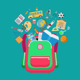 Flat backpack educational school object types  Stock Photo