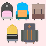 Flat backpacks Royalty Free Stock Image