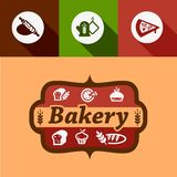 Flat bakery design elements Royalty Free Stock Photo