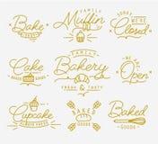 Flat bakery symbols gold Royalty Free Stock Photography