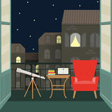 Flat balcony with telescope, chair and notebook. vector illustration Royalty Free Stock Image