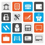 Flat Bank, business and finance icons. Vector icon set Royalty Free Stock Photos