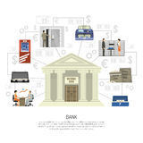 Flat Bank Infographics Stock Photography