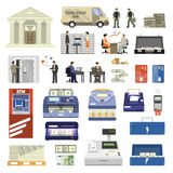 Flat Bank Set. Flat set of bank building equipment and clerks isolated on white background vector illustration Royalty Free Stock Photo