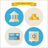 Flat Bank Website Icons Set. Vector Illustration. Flat Circle Icons for web. Collection of Earning and Financial Colorful Circle Icons. Money and Finance. Bank Stock Photos
