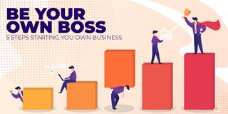 Flat Banner Be Your Own Boss on Pink Background. stock illustration
